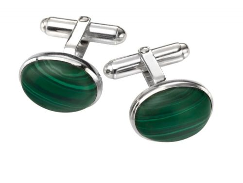Malachite Solid Sterling Silver Green Oval Cufflinks
